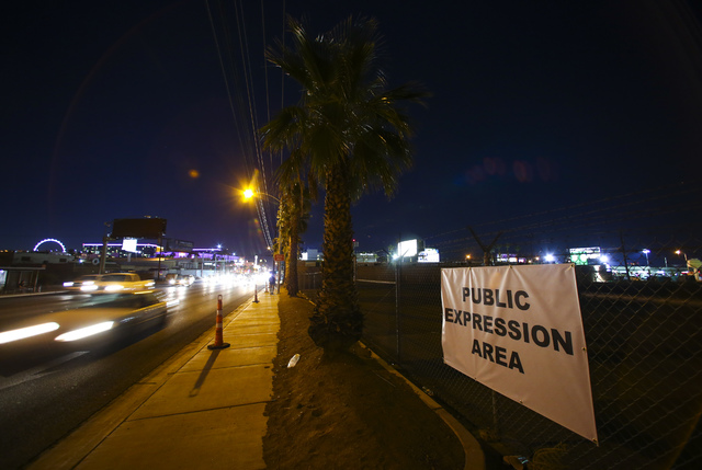 A public expression area is shown ahead of the third presidential debate at UNLV in Las Vegas on Tuesday, Oct. 18, 2016. (Chase Stevens/Las Vegas Review-Journa) @csstevensphoto