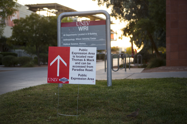 "A sign outside of Wright Hall directs people to a ""public expression area"" ahead of the third presidential debate at UNLV in Las Vegas on Tuesday, Oct. 18, 2016. (Chase Stevens/Las Vegas Review-Jo ..."
