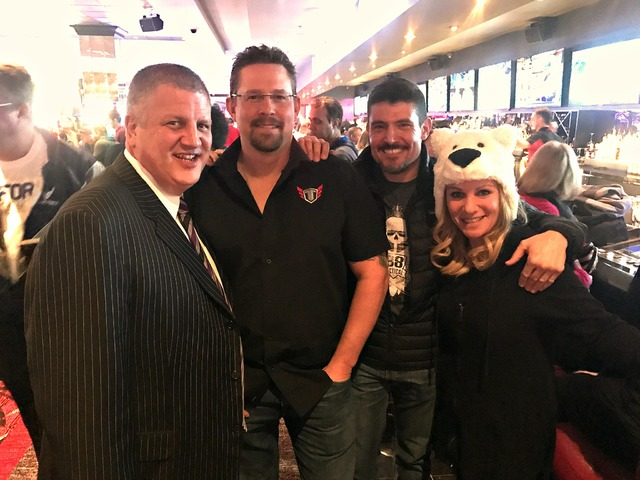 Derek Stevens, John Tiegen, Kris Paronto and Nicole Parthum at The Longbar at The D Las Vegas. (Courtesy)