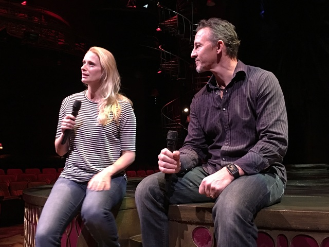 "Laetitia and Nicky Dewhurst talk of the upcoming ""One Night For One Drop"" charity show at Zumanity Theater at New York-New York on Jan. 11, 2017. (John Katsilometes/Las Vegas Review-Journal)"