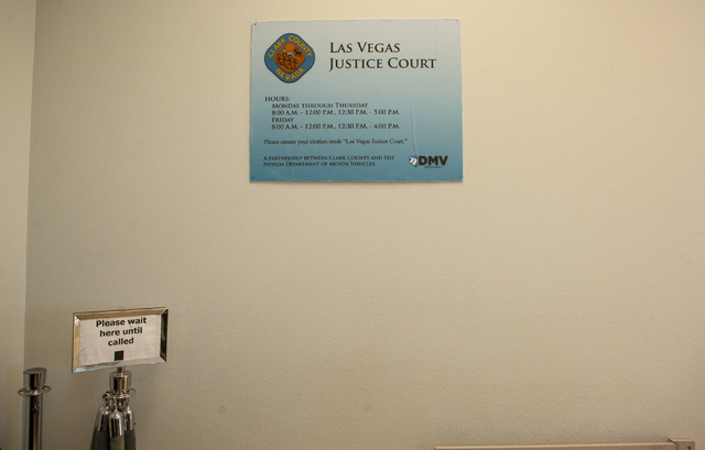 The Justice Court desk at the DMV's Flamingo Road location in Las Vegas on Wednesday, Jan. 25, 2017. Drivers can pay traffic fines at the DMV thanks to a new pilot program in conjunction with the  ...