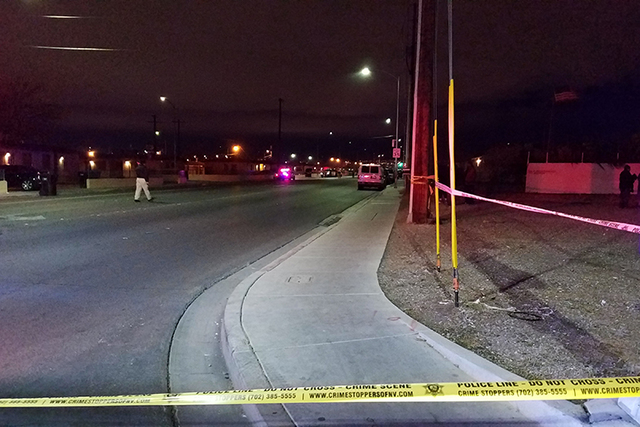 Las Vegas police are investigating the deaths of two people who were found inside a home in the 900 block of West Washington Avenue late Wednesday night, Jan. 18, 2017. (MIke Shoro/Las Vegas Revie ...
