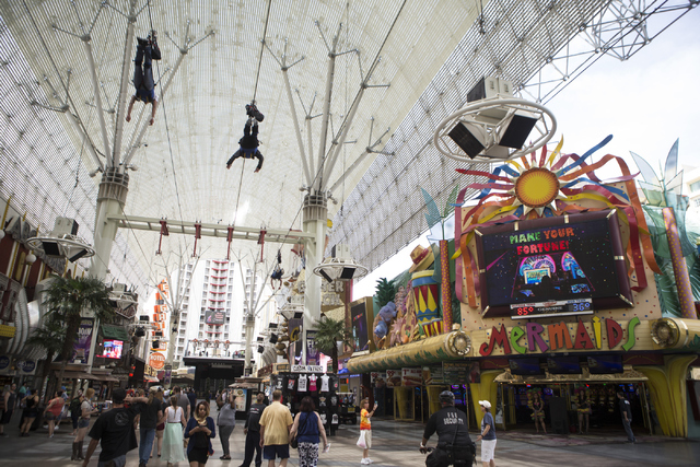 Mermaids casino at the Fremont Street Experience is seen on Thursday, April 21, 2016, in Las Vegas. The owners of the D Las Vegas and Golden Gate purchased the Mermaids casino to build a new hotel ...