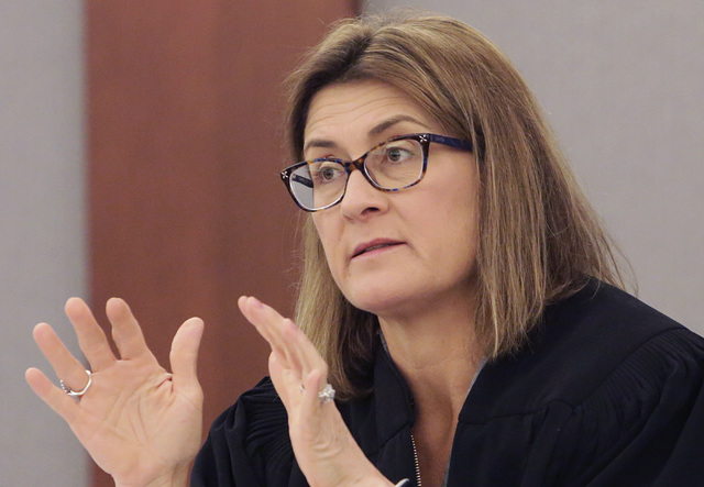 District Judge Jennifer Togliatti presides during Scott Dozier's hearing at the Regional Justice Center on Thursday, Jan. 19, 2017, in Las Vegas. Dozier, who is on death row, is asking a judge to  ...