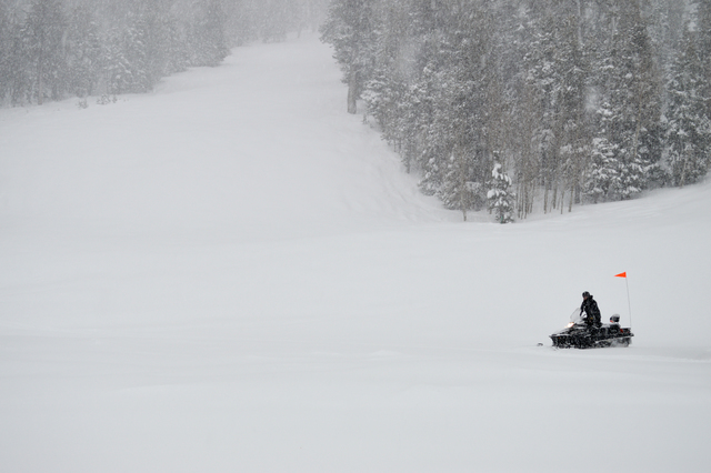 A snow mobile goes through the Lee Canyon Ski and Snowboard Resort while it's snowing, Sunday, Jan.22, 2017. Courtesy of the Lee Canyon Ski and Snowboard Resort