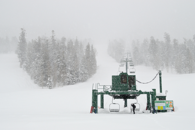 Open chair lifts are seen at the Lee Canyon Ski and Snowboard Resort while it's snowing, Sunday Jan. 22, 2017.  Courtesy of the Lee Canyon Ski and Snowboard Resort