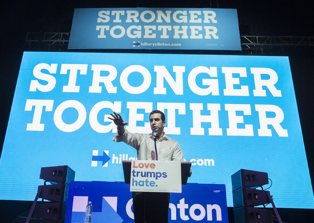 State Sen. Ruben Kihuen, D-Nevada, speaks at a rally for Democratic presidential nominee Hillary Clinton at Cox Pavilion on Thursday, Nov. 3, 2016, at UNLV, in Las Vegas. (Benjamin Hager/Las Vegas ...