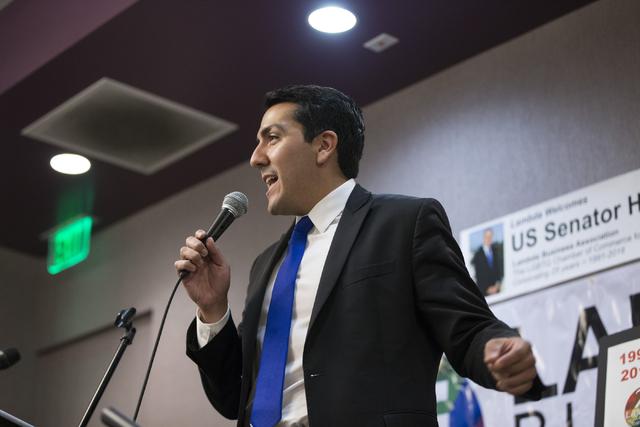 Nevada Assemblyman Nelson Araujo speaks during the Lambda Business Association monthly luncheon, Aug. 16, 2016, in Las Vegas. (Erik Verduzco/Las Vegas Review-Journal) @Erik_Verduzco
