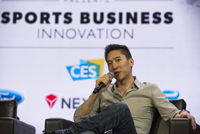 Dennis Fong, former e-sports gamer and CEO of Rapter, speaks during Sport Business Innovation session during CES 2017 at the Sands Convention Center on Thursday, Jan. 05, 2017. Around 175,000 peop ...