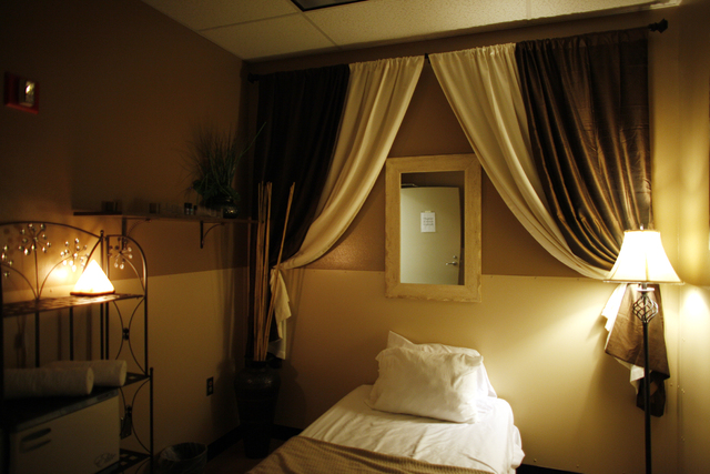 A sleeping room at the Zero Level Fitness and Wellness gym at McCarran International Airport in Las Vegas on Monday, Jan. 23, 2017. Guests can sleep for a few hours between shifts if they need to. ...
