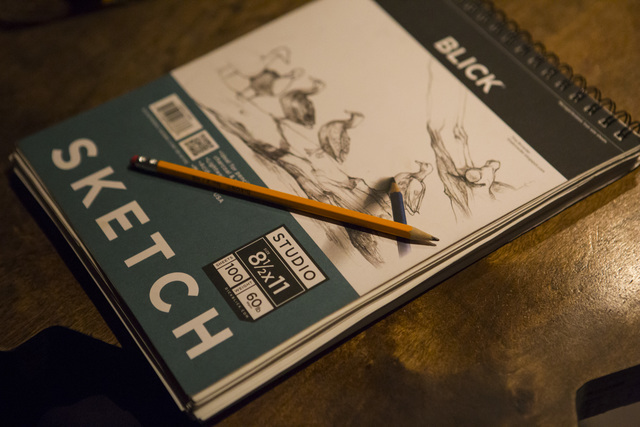 A sketch book sits on a table during a monthly drawing session held by Dr. Sketchy's Anti-Art School at Artifice in downtown Las Vegas on Thursday, Nov. 17, 2016. Chase Stevens/Las Vegas Review-Jo ...