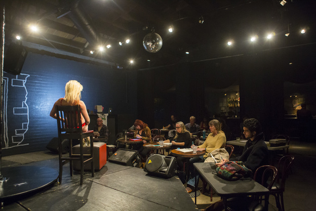 Dani Mitchell, left, poses for artists during a monthly drawing session held by Dr. Sketchy's Anti-Art School at Artifice in downtown Las Vegas on Thursday, Nov. 17, 2016. Chase Stevens/Las Vegas  ...