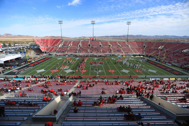 The UNLV Rebels and the Nevada Wolf Pack warm up before the UNLV Nevada football game at Sam Boyd Stadium in Las Vegas on Saturday, Nov. 26, 2016. Brett Le Blanc/Las Vegas Review-Journal Follow @b ...