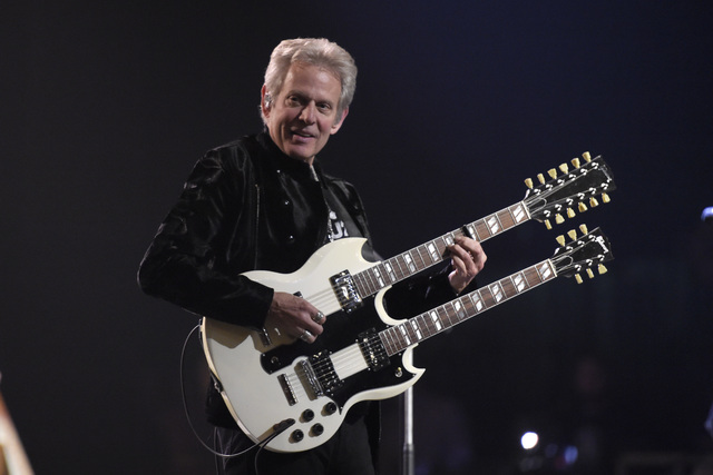Former Eagles guitarist Don Felder performs with Styx Thursday, Jan. 5, 2017, to promote the band's upcoming show at the Venetian Theater in Las Vegas. (Sam Morris/Las Vegas News Bureau)