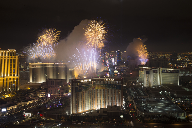 New Year fireworks from the Trump hotel on Sunday, Jan. 1, 2017, in Las Vegas. Erik Verduzco/Las Vegas Review-Journal Follow @Erik_Verduzco