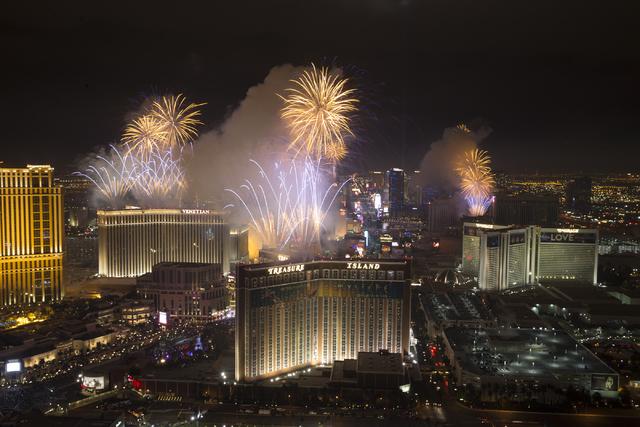 New Year fireworks from the Trump hotel on Sunday, Jan. 1, 2017, in Las Vegas. (Erik Verduzco/Las Vegas Review-Journal) @Erik_Verduzco