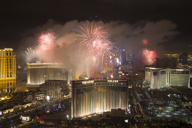 New Year's fireworks are seen from Trump International on Sunday, Jan. 1, 2017, in Las Vegas. Erik Verduzco/Las Vegas Review-Journal Follow @Erik_Verduzco