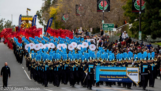 Foothill High School's marching band and color guard participate in the 128th Tournament of Roses Parade in Pasadena California, January 2, 2017. Photo provided by Sean Thueson