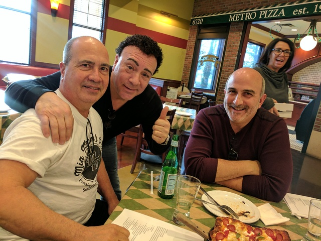 Frankie Scinta, second from left, at Metro Pizza at Skypointe in Las Vegas. (Courtesy)