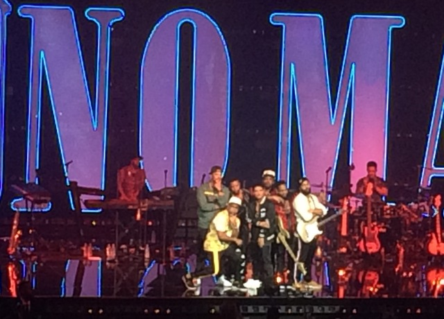 Bruno Mars and his band put up the house lights to allow all 5,185 people to snap a photo, Saturday, Dec. 31, 2016, at The Park Theater on the Las Vegas Strip.