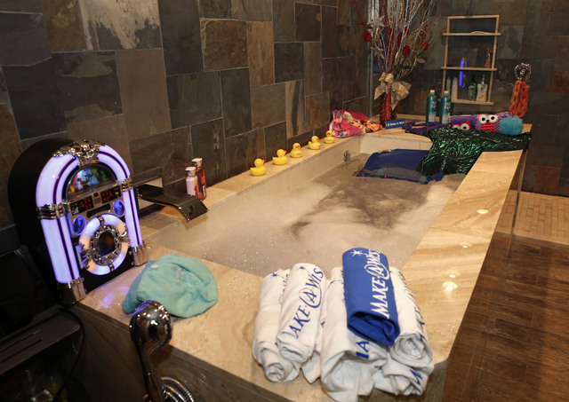 Make-A-Wish Southern Nevada and its partners formally revealed the Gardner family's long-awaited bathroom makeover, including a custom tub, at the Gardner family home, Thursday, Jan. 12, 2017 in L ...