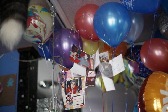 Cashel Gardner's balloons from his birthday and photos hang above his bed on Jan. 10, 2017. (Rachel Aston/Las Vegas Review-Journal) @rookie__rae