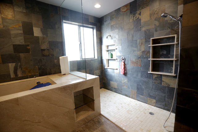 """The bathroom that Make-A-Wish Southern Nevada remodeled for Allison """"Allie"""" Gardner is shown on Tuesday, Jan. 10, 2017. The bathroom is made to accommodate Allie and her brother, who both have spi ..."""