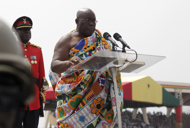 Ghana President elect Nana Akufo-Addo speaks during his inauguration ceremony in Accra, Ghana, Saturday, Jan. 7, 2017. (AP)