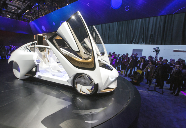 The Toyota Concept-i on display during CES 2017 at the Las Vegas Convention Center on Thursday, Jan. 05, 2017. Around 175,000 people are expected the attend the world's largest consumer electronic ...