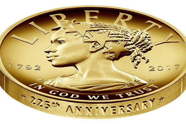 The U.S. Mint shows the design for the 2017 American Liberty 225th Anniversary Gold Coin with a black woman as Lady Liberty. The coin is worth $100. (U.S. Mint via AP)