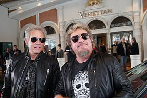 Don Felder, left, and Sammy Hagar talk in front of The Venetian on Friday, Jan. 13, 2017. (Venetian)