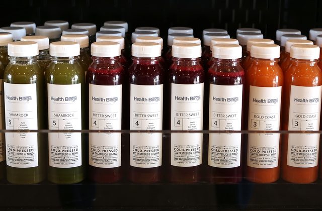 Cold-pressed drinks are displayed at Health Binge store on 6040 W. Badura Ave., on Wednesday, Jan. 18, 2017, in Las Vegas. The shop near Jones Boulevard and the 215 Beltway is the first retail loc ...