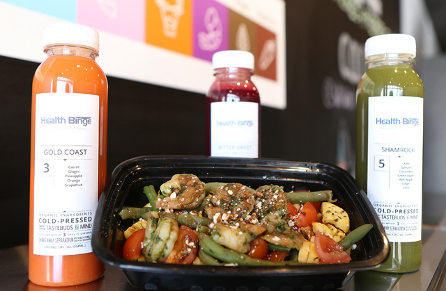 Rocket pesto shrimp and cold-pressed drinks are displayed at Health Binge store on 6040 W. Badura Ave., on Wednesday, Jan. 18, 2017, in Las Vegas. The shop near Jones Boulevard and the 215 Beltway ...