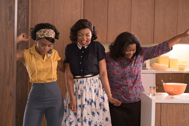 DF-03283_R3 - Mary Jackson (Janelle Monae, left), Katherine Johnson (Taraji P. Henson) and Dorothy Vaughan (Octavia Spencer) celebrate their stunning achievements in one of the greatest operations ...