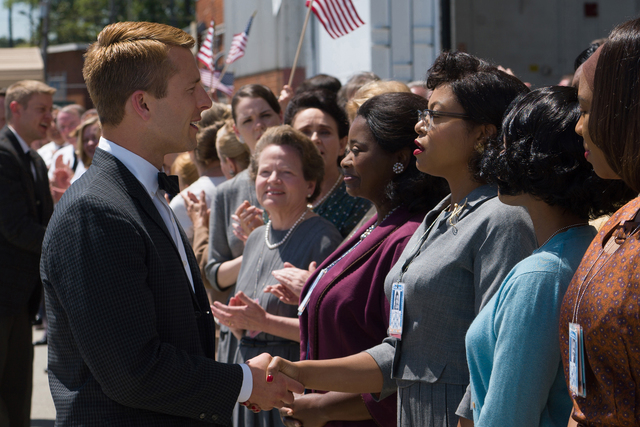 DF-04856_R2 - Katherine G. Johnson (Taraji P. Henson), flanked by fellow mathematicians Dorothy Vaughan (Octavia Spencer) and Mary Jackson (Janelle Monáe) meet the man they helped send into orbit ...