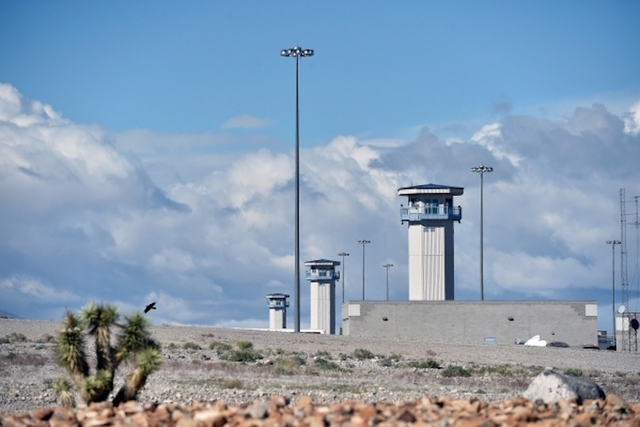 Watch towers at the High Desert State Prison, a part of the State of Nevada Department of Corrections, Nov. 10, 2015. (David Becker/Las Vegas Review-Journal)