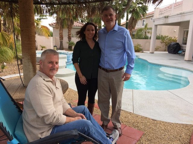 Dennis Hofmaier and Veronica Scala take break along with Steve Appel, seated, in the backyard of the southwest home where those recovering from addiction. Higher Path Living seeks to help those fo ...