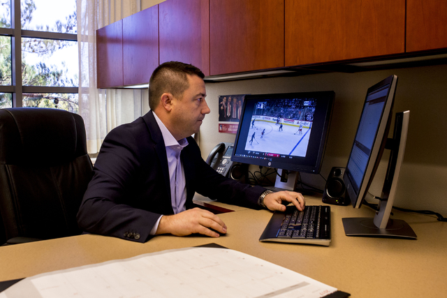 Misha Donskov, recently appointed by the Las Vegas NHL expansion franchise as director of hockey operations, sends an email at the Golden Knights offices, Las Vegas, Jan. 6, 2017. (Elizabeth Bruml ...