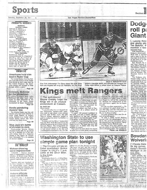 The Sept. 28, 2991, Las Vegas Review-Journal sports page features an exhibition hockey game between the Los Angeles Kings and the New York Rangers at an outdoor rink at Caesars Palace on Sept. 27, ...