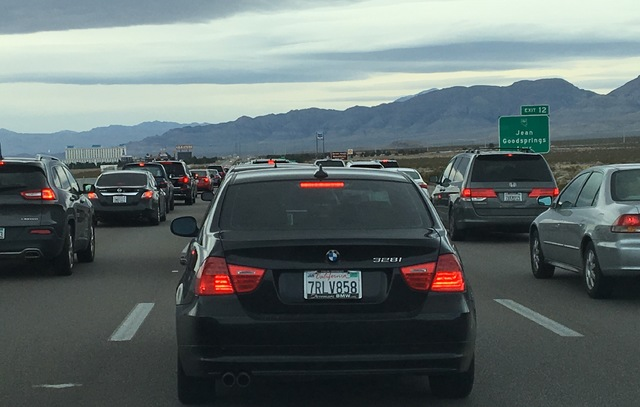 Traffic is building on southbound Interstate 15 as holiday travelers leave Las Vegas, mostly returning to Southern California after the New Year's weekend, Monday, Jan. 2, 2017. (Bizuayehu Tesfaye ...