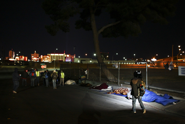 Volunteers search for homeless people along A Street during the Southern Nevada Homeless Census in downtown Las Vegas on Tuesday, Jan. 24, 2017. (Chase Stevens/Las Vegas Review-Journal) @csstevens ...