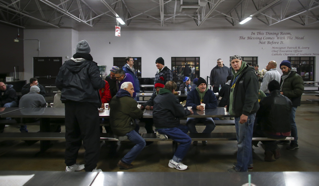 Volunteers gather before the start of the Southern Nevada Homeless Census at Catholic Charities in downtown Las Vegas on Tuesday, Jan. 24, 2017. (Chase Stevens/Las Vegas Review-Journal) @csstevens ...