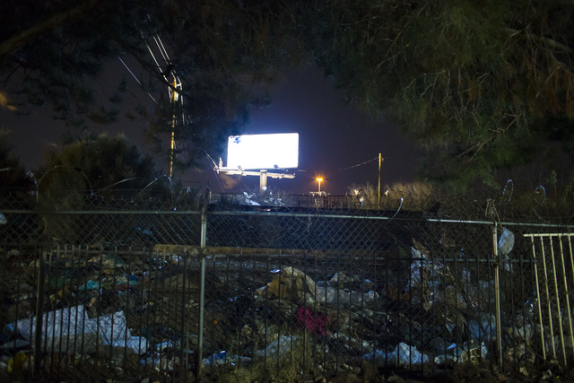 Large amounts of trash near an underpass as volunteers and Las Vegas police search for homeless people along Owens Avenue during the Southern Nevada Homeless Census in downtown Las Vegas on Tuesda ...