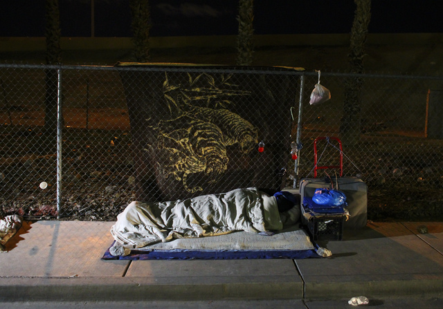 A homeless encampment along A Street during the Southern Nevada Homeless Census in downtown Las Vegas on Tuesday, Jan. 24, 2017. (Chase Stevens/Las Vegas Review-Journal) @csstevensphoto