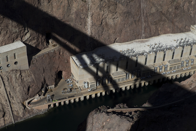 The view from the Mike O'Callaghan-Pat Tillman Memorial Bridge as crews works to inspect for deficiencies at the Hoover Dam, Tuesday, Jan. 31, 2017. (Erik Verduzco/Las Vegas Review-Journal) @Erik_ ...