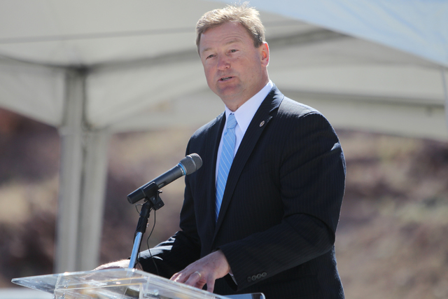 U.S. Sen. Dean Heller, R-Nev., speaks during the ground breaking ceremony for the I-11 Boulder City bypass project in Boulder City, Nev., Monday, April 6, 2015. (Erik Verduzco/Las Vegas Review-Jou ...