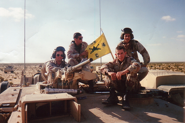 Company Commander Capt. Ross Bryant poses for a photo with his crew in 4th Battalion, 64th Armor Regiment, 24th Infantry Division in Egypt in 1994. (Courtesy of Ross Bryant)