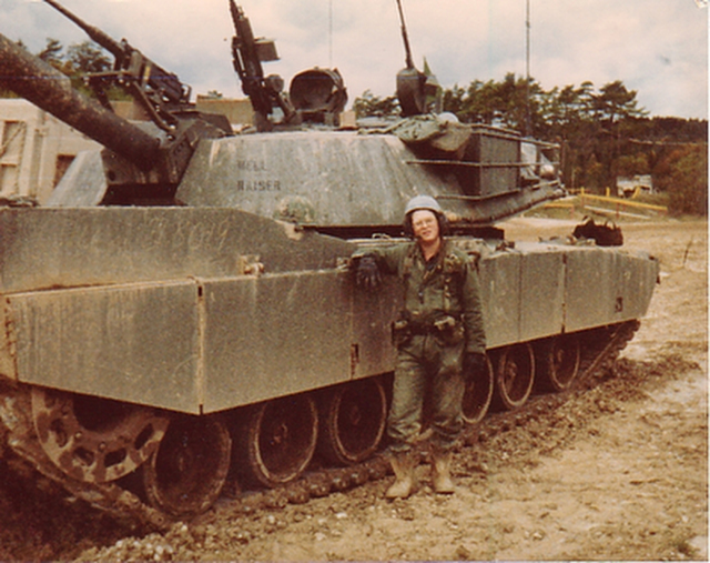 Sgt. Ross Bryant stands with his tank as part of the 3/63rd Armor, 3rd Infantry Division in 1984. (Courtesy of Ross Bryant)