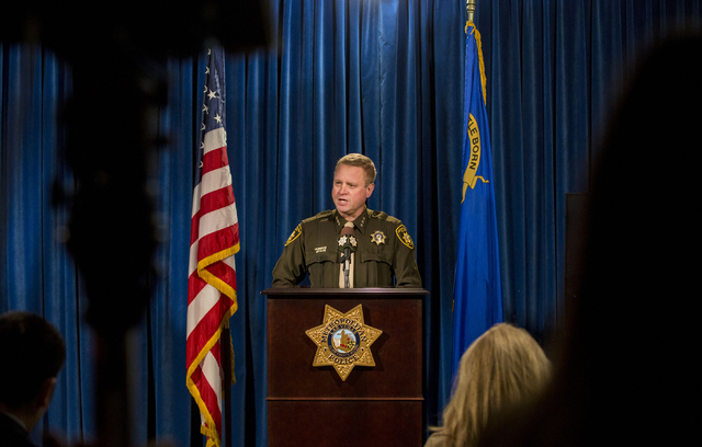 Undersheriff Kevin McMahill discusses details regarding the shooting of Paul Palmer, an armed man shot by a police officer, in Jean, at the Metropolitan Police Department on Jan. 24, 2017. (Elizab ...