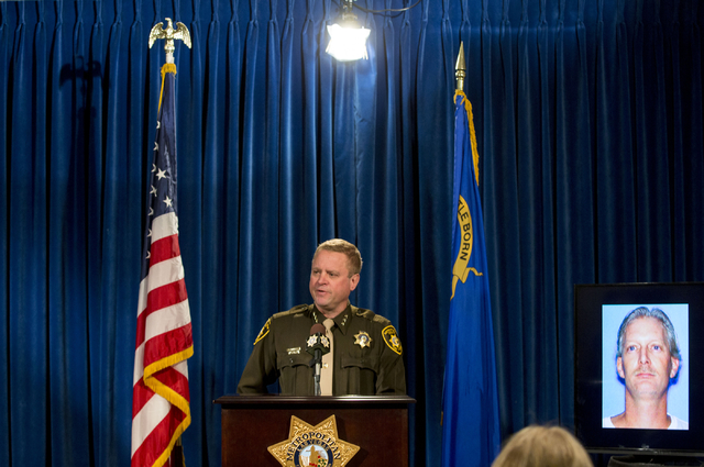 Metro Undersheriff Kevin McMahill discusses details regarding the shooting of Paul Palmer, an armed man shot by a police officer,  in Jean, Nevada, at the Las Vegas Metropolitan Police Department, ...